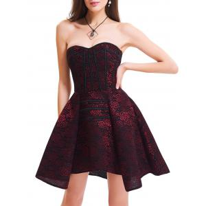 Strapless Floral Lace-up Corset Dress - Red - L
