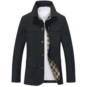 Single Breasted Snap Button Pocket Coat - Black - L