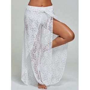 Lace Tulip Swim Cover Up Pants - White - S