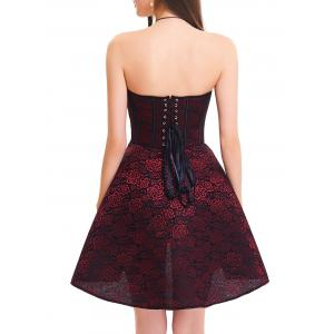 Strapless Floral Lace-up Corset Dress - RED 2XL