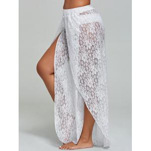 Lace Tulip Swim Cover Up Pants - WHITE M