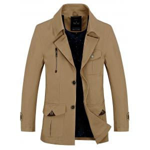 Button Pocket Single Breasted Coat