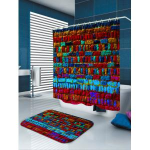 Unique Dazzling Brick Anti-bacteria Shower Curtain - COLORMIX W71 INCH * L79 INCH