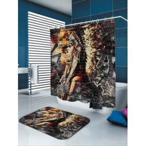 Eco-Friendly Ethnic Style Fabric Shower Curtain - COLORMIX W65 INCH * L71 INCH