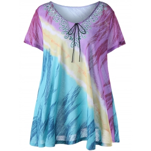 Printed Plus Size Tunic Top - Colormix - 5xl
