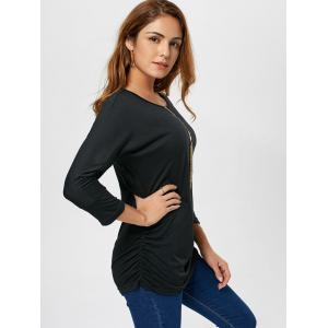 Long Sleeve Scrunch Tunic Sweater - BLACK L