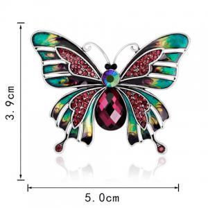 Butterfly Shape Artificial Ruby Inlaid Enamel Brooch - COLORFUL