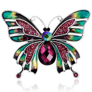 Butterfly Shape Artificial Ruby Inlaid Enamel Brooch
