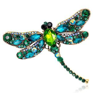 Faux Gem Inlaid Dragonfly Design Vintage Brooch - Green