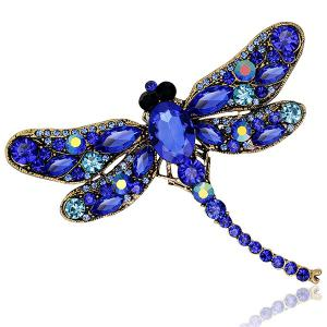 Faux Gem Inlaid Dragonfly Design Vintage Brooch
