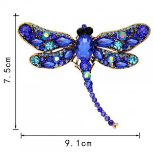 Faux Gem Inlaid Dragonfly Design Vintage Brooch - Bleu