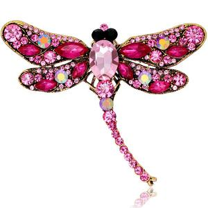 Faux Gem Inlaid Dragonfly Design Vintage Brooch - TUTTI FRUTTI