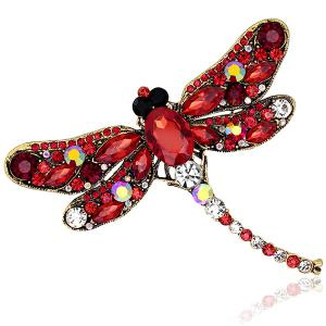 Faux Gem Inlaid Dragonfly Design Vintage Brooch - Red - One Size