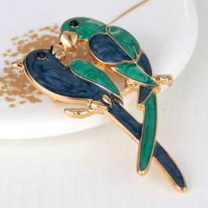 Parrots Lover Design Plating Brooch - Vert