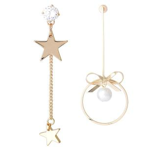 Asymetric Pentastar Tiny Bowknot Drop Earrings