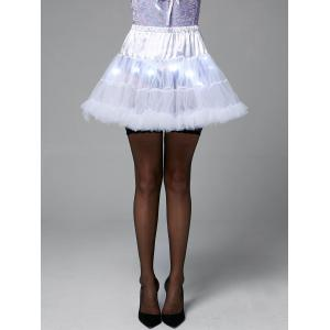 Light Up Ruffles Tutu Voile Cosplay Jupe - Blanc TAILLE MOYENNE