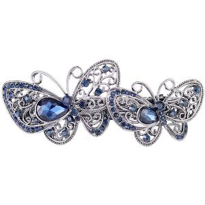 Double Butterfly Hollow Out Faux Gem Barrette - Blue - One-size