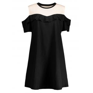 Plus Size Ruffled Cold Shoulder Mini Dress