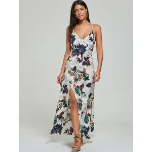 Maxi Print High Slit Slip Ankle Length Dress - OFF-WHITE S