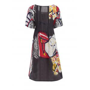 Plus Size Funny Drawing Smock Dress with Pockets -