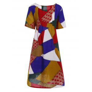 Plus Size Colorful Patch Smock Dress with Pockets -