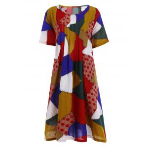 Plus Size Colorful Patch Smock Dress with Pockets - Red - One Size