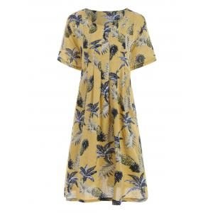 Plus Size Casual Pineapple Printed Dress with Pockets - Yellow - One Size