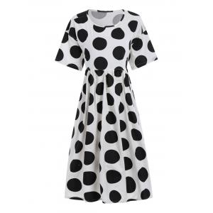 Plus Size Polka Dot Trapeze Dress with Pockets