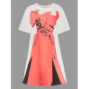Plus Size Dress Print Graphic Tee Dress