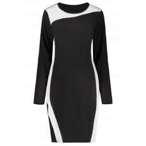Plus Size Two Tone Long Sleeve Work Dress
