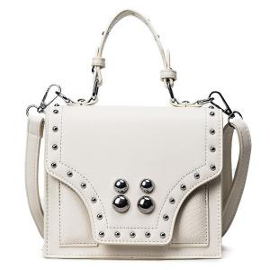 Rivet Flapped Faux Leather Handbag - White