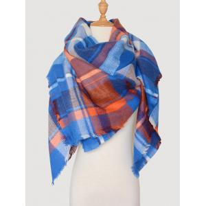 Checked Wool Blended Color Blocking Square Scarf - Royal