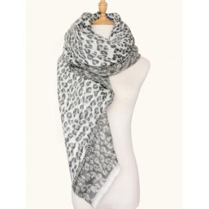Square Wool Blended Leopard Pattern Warm Scarf - Leopard Print Pattern