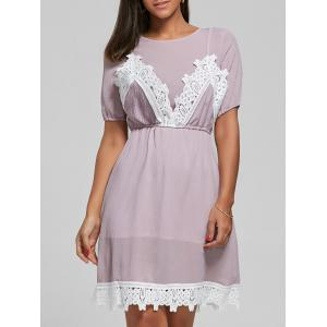 Laced Textured Knee Length Dress - Pink - One Size
