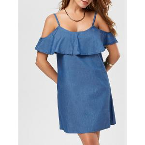Cold Shoulder Flounce Casual Denim Dress