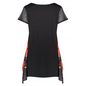 Plus Size Graphic Funny Asymmetric Tunic T-shirt - RED 3XL