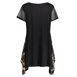 Plus Size Graphic Funny Asymmetric Tunic T-shirt - BLACK 5XL