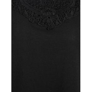 Lace Hollow Out Plus Size Tunic T-shirt - BLACK 3XL
