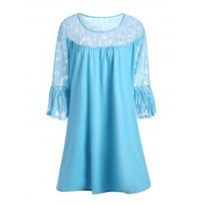 Lace Crochet Plus Size Bell Sleeve Tunic Top