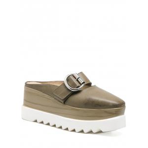 Square Toe Buckle Strap Platform Slippers - Khaki - 38