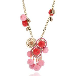 Small Pompons Dreamcatcher Pendant Necklace - Pink