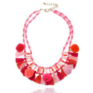 Small Pompon Tassel Pendant Fake Collar Necklace