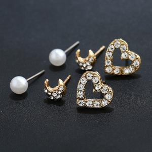 Heart Moon Shape Three Pairs of Earrings - Golden