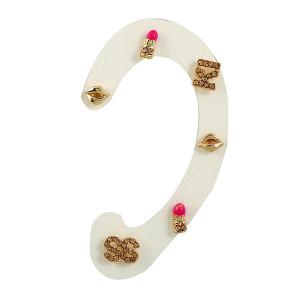 Lip Letter S Shape Three Pairs of Earrings - Golden