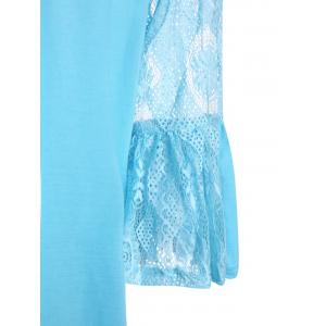 Lace Crochet Plus Size Bell Sleeve Tunic Top - LAKE BLUE XL