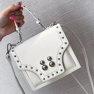 Rivet Flapped Faux Leather Handbag -