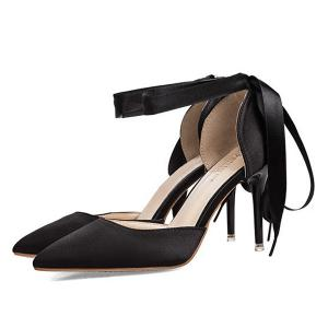 Satin Two Piece Tie Up Pumps - BLACK 39
