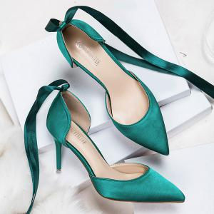 Satin Two Piece Tie Up Pumps - GREEN 39