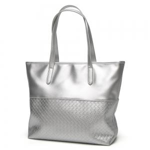 Faux Leather Woven Shopper Bag - Argent