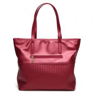 Faux Leather Woven Shopper Bag - RED